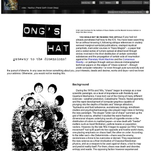ONG'S HAT:GATEWAY TO THE DIMENSIONS! A full color brochure for the Institute of Chaos Studies and the Moorish Science Ashram in Ong's Hat, New Jersey.